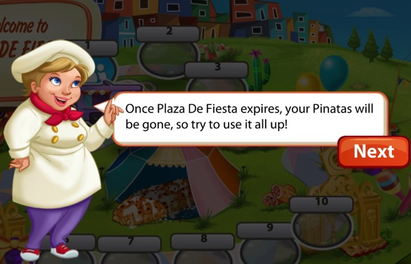 A short blond woman wears a chef hat and coat. She has a red scarf, red shoes, and purple pants. She is speaking.