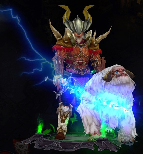 A Barbarian wearing a mix of armor and a horned helmet holds a sword that is producing blue lightning. A large fluffy pet stands near him.