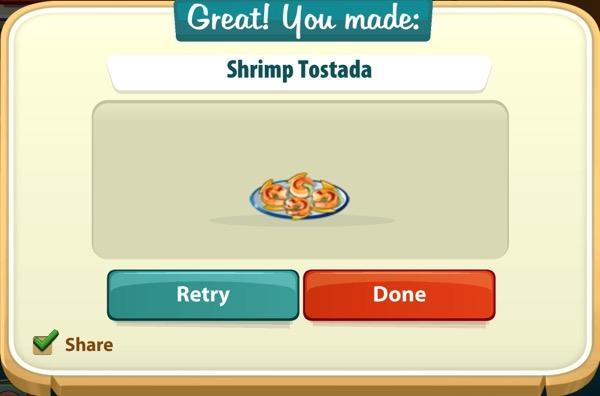 Four pieces of a shrimp tostada sit on a blue plate