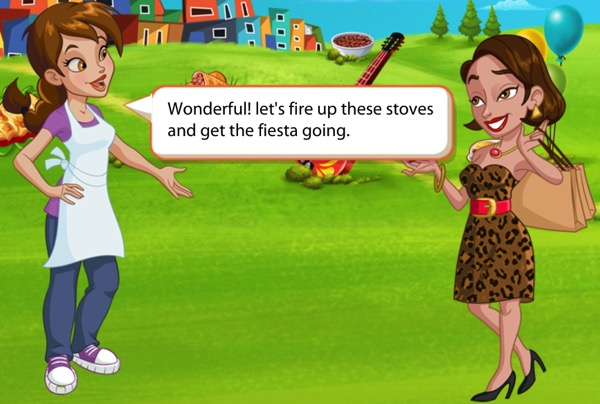 A young woman wearing an apron tells a woman in fancy clothing that she wants to fire up the stoves.