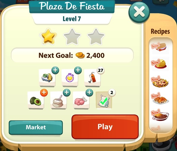 A sign that says Plaza De Fiesta at the top. It shows one gold star.