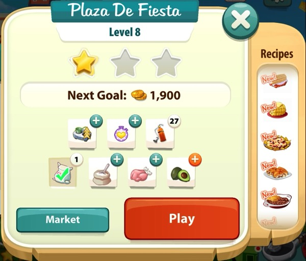 A sign that says Plaza De Fiesta at the top and shows one gold star.