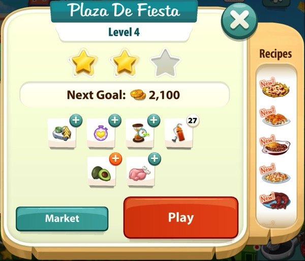 A sign that shows two gold stars in Level 4 of Plaza De Fiesta