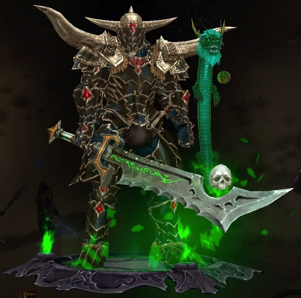 A Barbarian wears a complete set of armor. He holds a large sword that has a hovering skull. A green dragon pet floats in the air, playing with a toy ball.