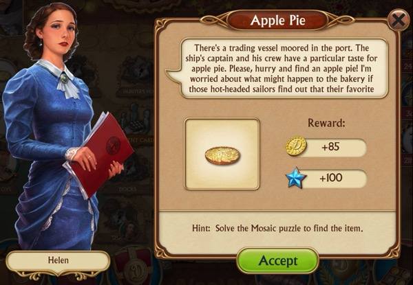 A woman in a blue dress needs you to find a missing apple pie she can give to a ship's captain and crew.