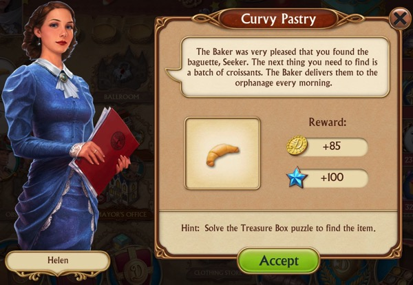 A woman in a curved dress asks the player to find a batch of croissants that have gone missing.