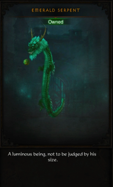 A green snake-like dragon floats in the air. He has horns, a dragon head, arms, legs, and a tail. The Emerald Serpent is playing with a ball.