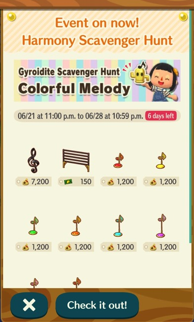 A box shows the items that players could craft if they had enough bells and bebop gyroidites.