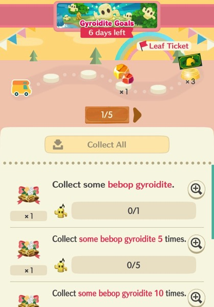A small camper is stopped on a path. Below it are goals for the player to accomplish by picking bebop gyroidites.
