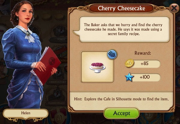 A woman in a blue dress asks that you find a missing cherry cheesecake.