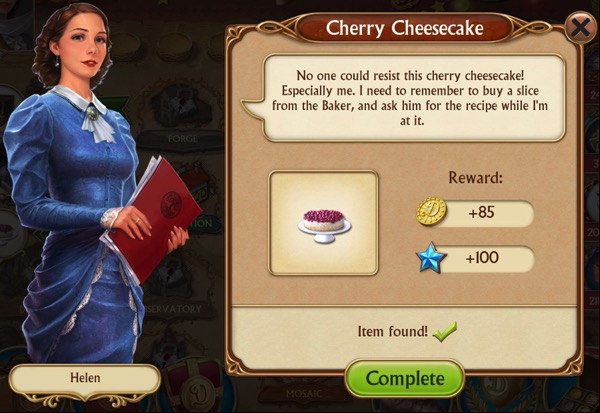 A woman in a blue dress speaks highly of the cherry cheesecake.