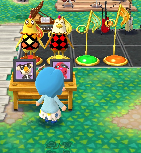 Four of the melody buttons at my campsite. The chicken friends are standing on two of them and holding hands.