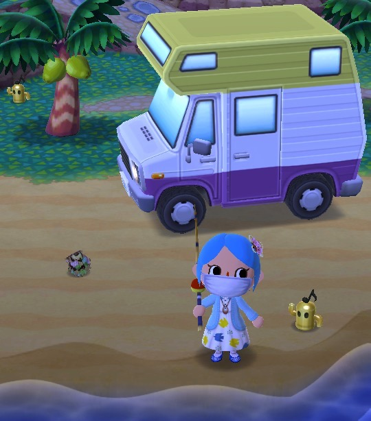 My pocket camp character is wearing a dress with a sweater and carrying a fishing pole. Behind her is a camper with the colors of the nonbinary flag. Two gold gyoridites are nearby.