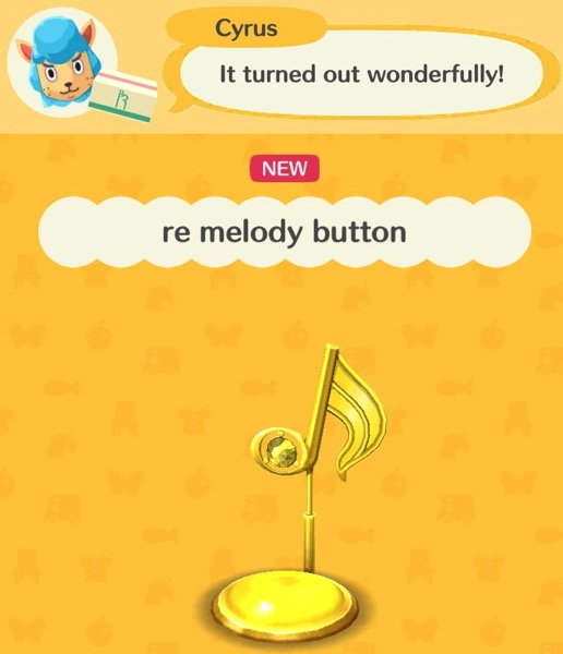 A yellow musical note on a stick is over a yellow button.