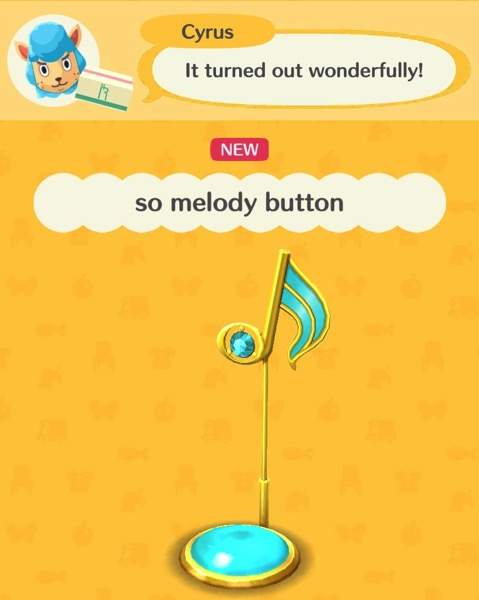 An aqua colored musical note is over a aqua colored button