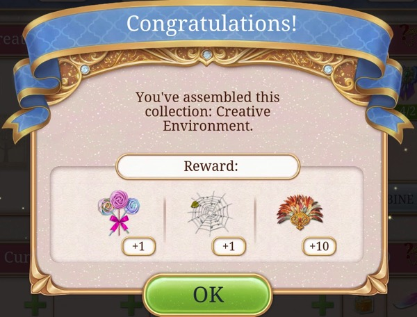 A box says: Congratulations! You've assembled this collection: Creative Environment.