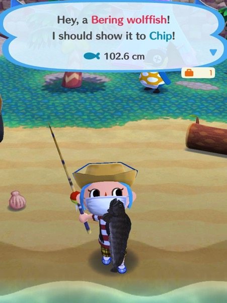 My Pocket Camp character holds up one Bering wolffish.