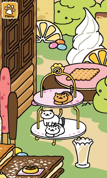 Three cats are on the Tower of Treats. One cat on the top tier and two on the bottom tier.