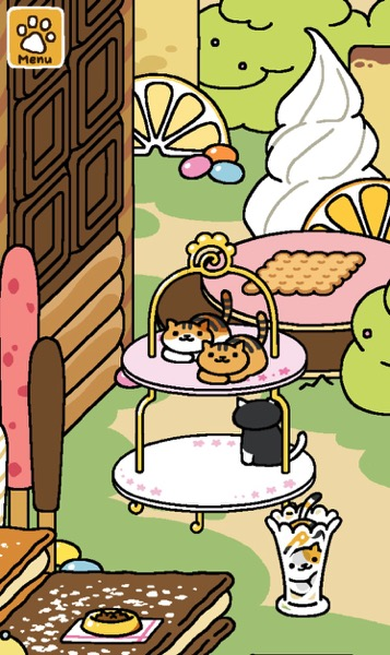 Two cats with orange colors rest on the top tier. One black and white cat is on the bottom tier.