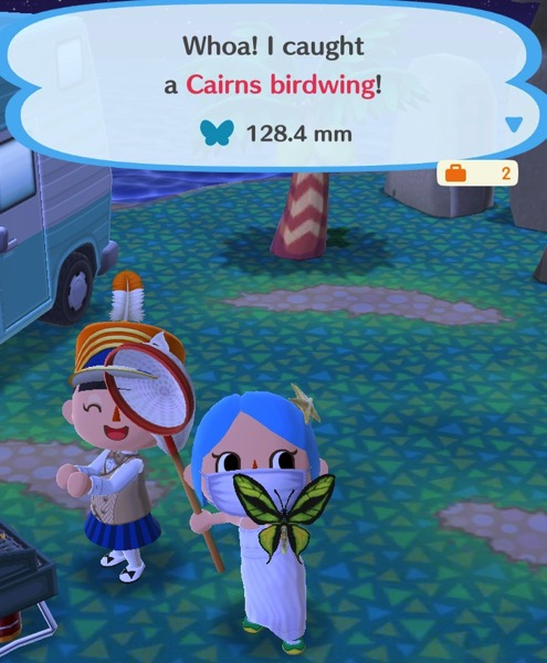 My Pocket Camp character holds up a very large butterfly. The top two wings are elongated and yellow with a black stripe in the middle. The bottom two wings are small, yellow, and with a black stripe on the inside.
