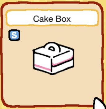 A white cardboard box with pink stripes on the sides. The box has a handle. It was once used by someone who needed to carry a cake.