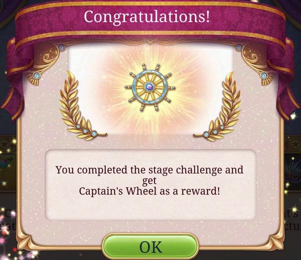 A box says Congratulations! The Seeker earned a Captain's Wheel reward.