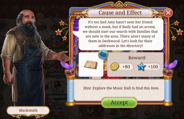 Blacksmith wants to find Amy's friend Rudy by seeking out families that are new to Darkwood.