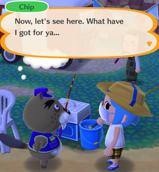 Chip is about to give my Pocket Camp character a prize.