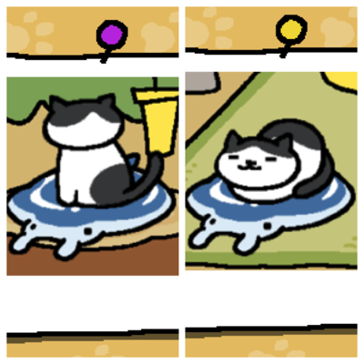 Chip is a white cat with large black spots. First image - Chip is sitting on the Manta Gel Mat looking away from the viewer. Second Image - Chip is napping on the Manta Gel Mat with his feet tucked under him
