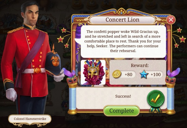 A Colonel in uniform tells the player what happened to the Concert Lion.
