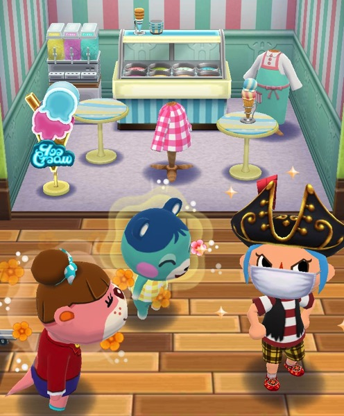 My Pocket Camp character is making a face. Next to them is Bluebear and Lottie. Behind them is the class with all the right items in it.