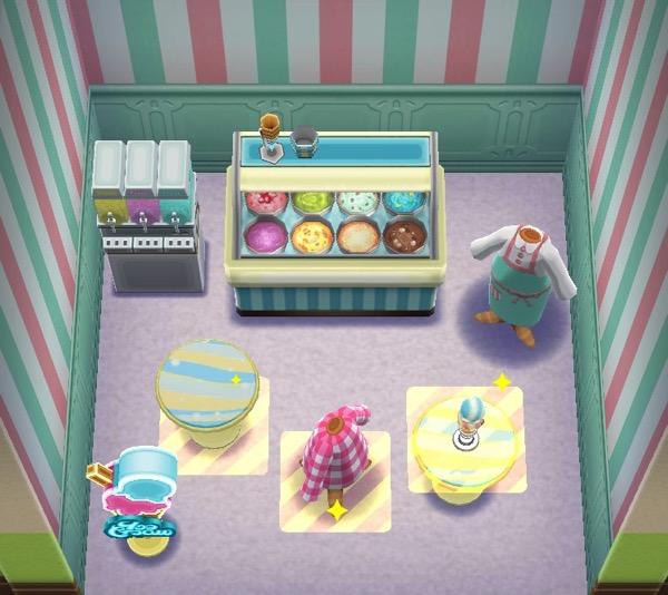An overhead view of an ice cream parlor. Three items are highlighted. Those are the required items to pass this class.