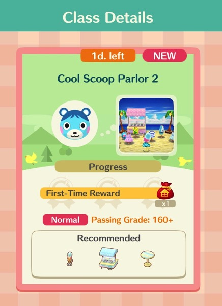 A box says Cool Scoop Parlor 2. A box at the bottom shows the required items for this class.