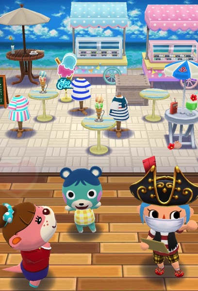 My Pocket Camp character made a good enough attempt at this class. Bluebear and Lottie stand near her - not quite as happy as before.