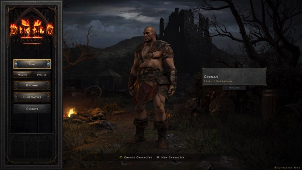 A male Barbarian in a small amount of armor stands near a fire.