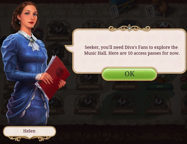 A woman in a blue dress offers the player Diva's Fans.