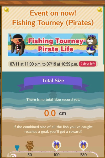 A poster-type notification that announces the Fishing Tourney - Pirates Life event in Animal Crossing Pocket Camp.