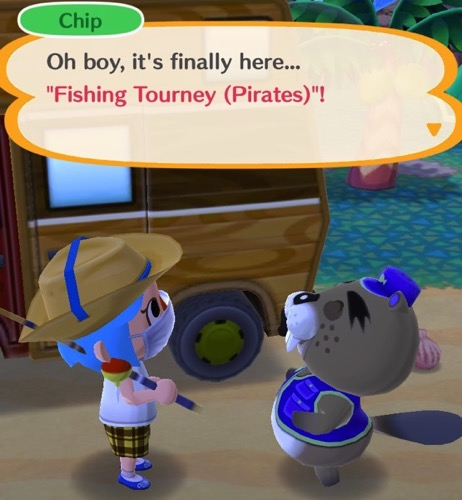 My Pocket Camp character is talking with a Beaver named Chip. He is in charge of this Fishing Tourney.