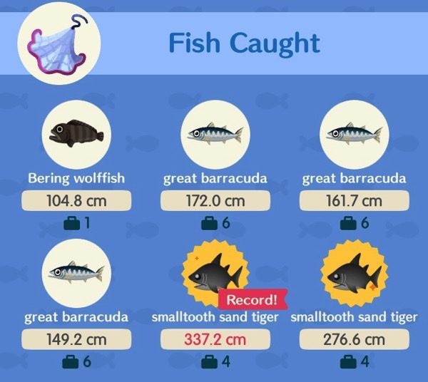 A close look at the number of type of Tourney Fish I caught after using a Fishing Tourney net.