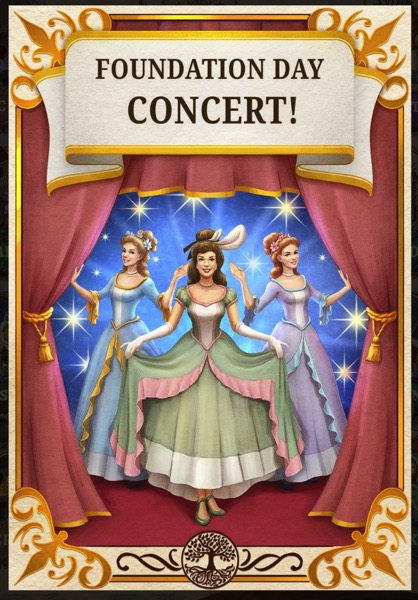 """A poster says """"Foundation Day Concert!"""" Three women in pastel colored dresses are on a stage."""