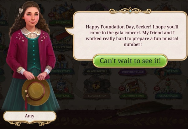 A girl with a green dress and red sweater invites the player to see a concert.