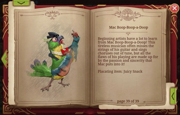 A book shows a drawing of Mac Boop-Boop-a-Doop. The other page has information about him.