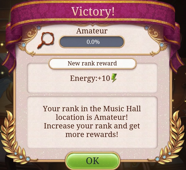 A box says Victory! The Music Hall is now at Amateur level.