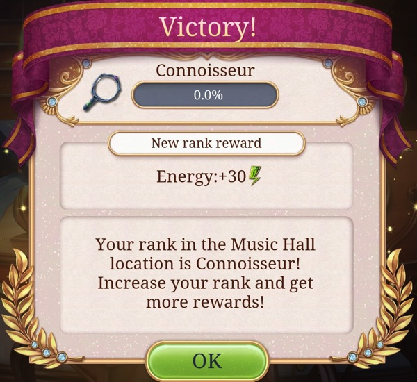 """A box says """"Your rank in the Music Hall location is Connoisseur!"""""""