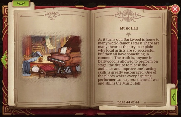 A book shows an image of the Music Hall. The next page has a description of it.