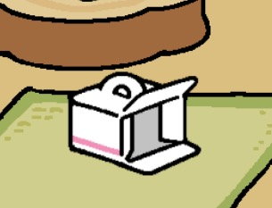 A white box with a handle and pink stripes. The front of the box is open.