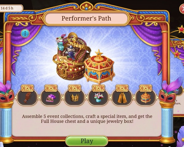 A box has a jewelry box and a decorative item that looks like a stage with performers on it.