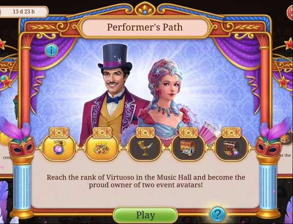 A box shows two people, one male, and one female, in fancy costumes. Below them are bubbles that fill in as the player levels the Music Hall location.