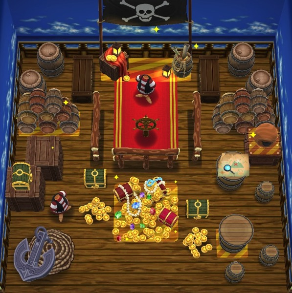 A cluttered room filled with many of the objects that I earned while playing through the Pirates' Life Fishing Tourney.
