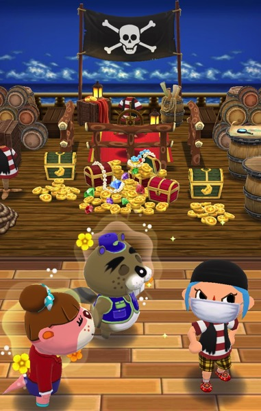 My Pocket Camp character is making a face. They stand next to Chip and Lottie. In the background is a whole lot of pirate stuff.